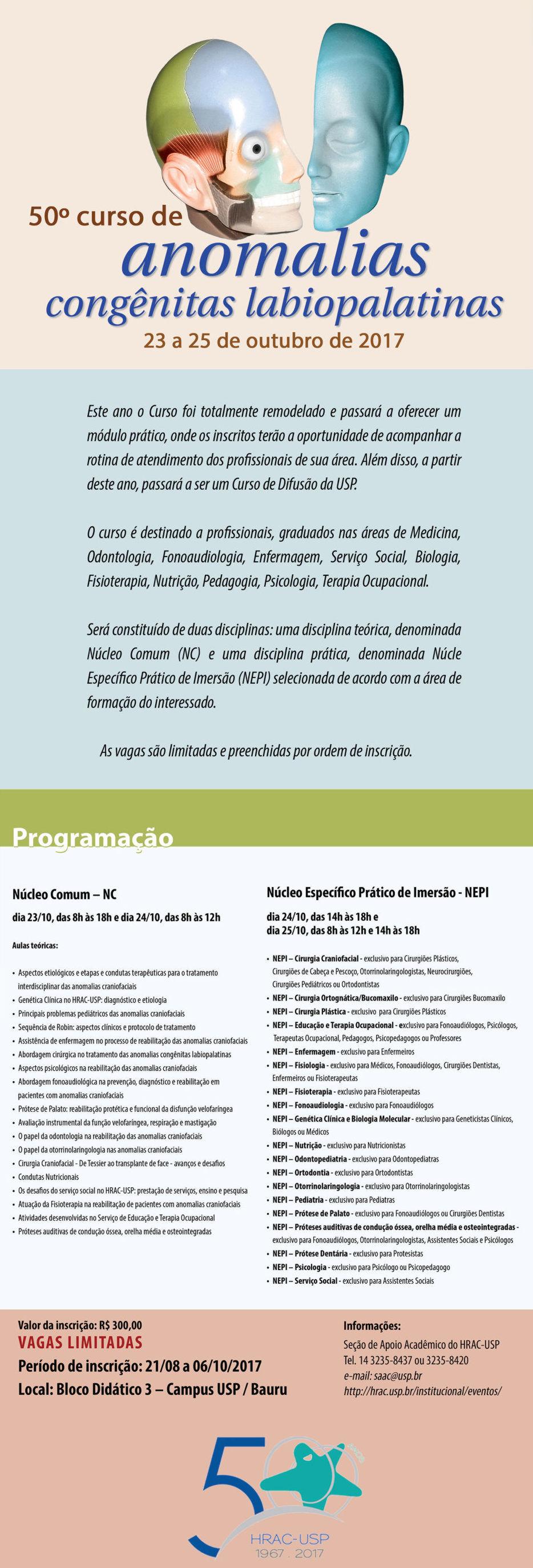50º Curso de Anomalias Congênitas Labiopalatinas HRAC-USP - de 23 a 25 de outubro de 2017 - Campus USP Bauru