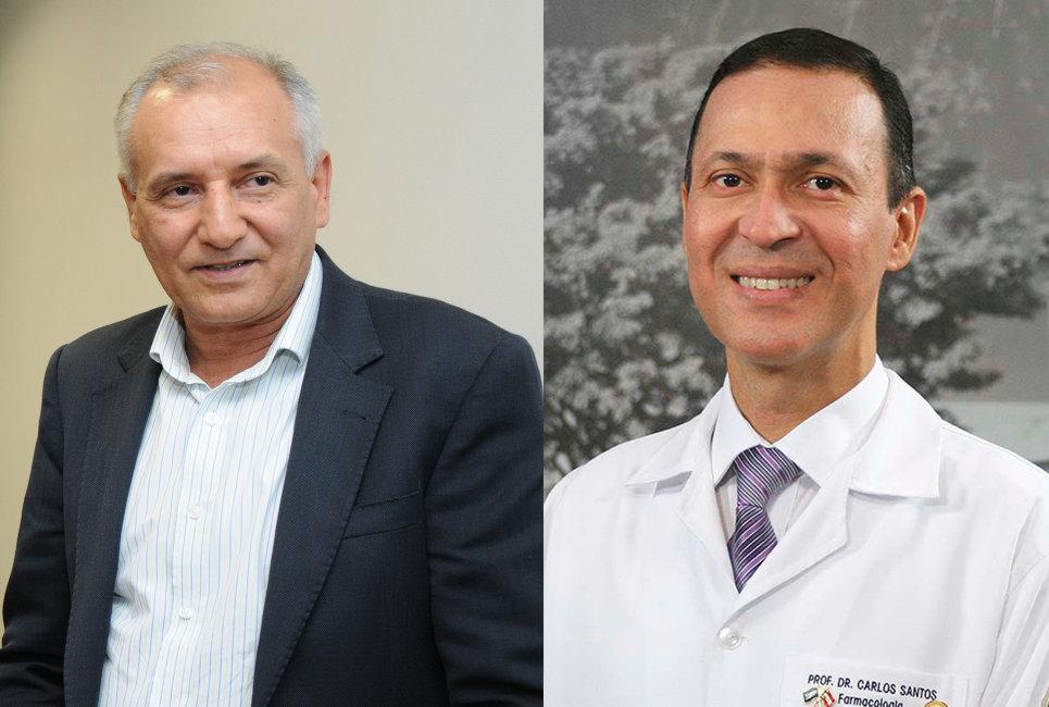 Prof. Dr. José Sebastião dos Santos, Superintendente, e Prof. Dr. Carlos Ferrreira dos Santos, Superintendente substituto do HRAC-USP. (Fotos: Denise Guimarães - FOB-USP)