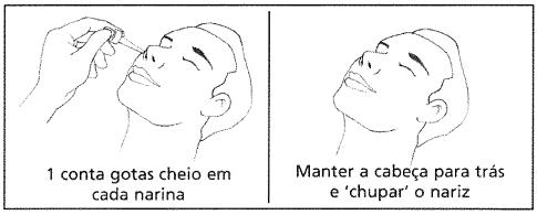 """Passo 1: Colocar um conta-gotas cheio de soro em cada narina. Passo 2: Mantenha a cabeça para trás e """"chupar o nariz""""."""