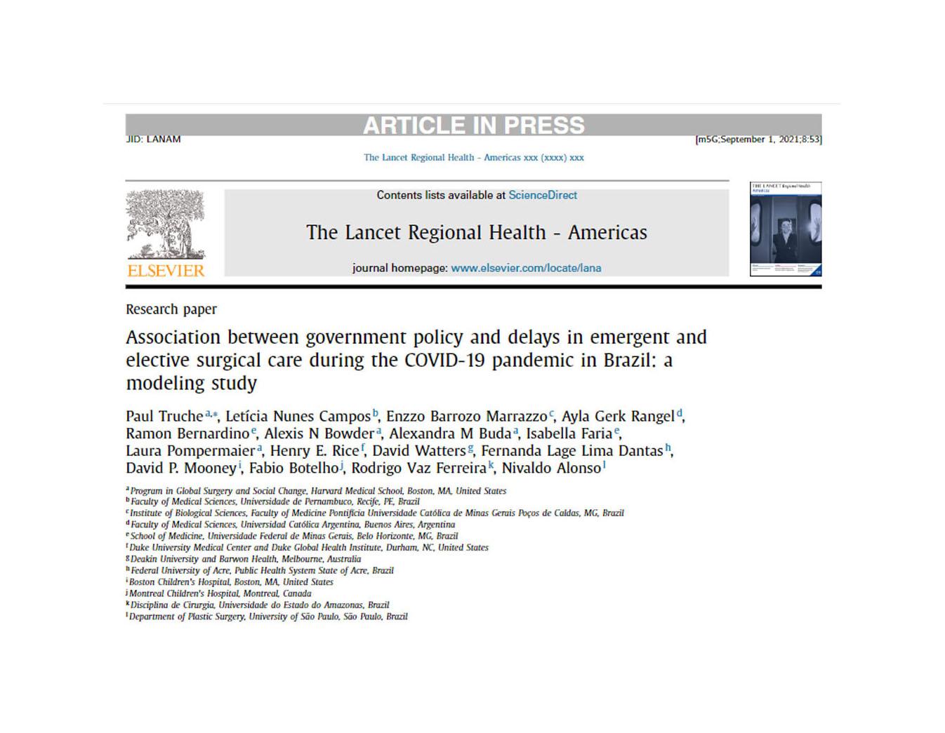 Estudo coordenado por especialista do HRAC-USP aponta necessidade de esforços governamentais coordenados para expansão de cirurgias eletivas